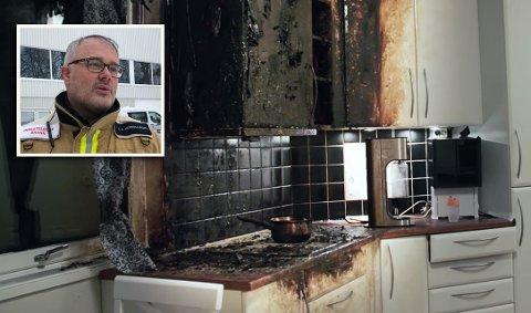 Jan Robin Herregaarden i Kongsberg brann- og redningstjeneste sier det kan være lett å glemme det man har på komfyren. I 2020 startet alt for mange branner på kjøkkenet.