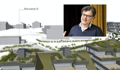 Takterrasser:  Utbygger Helge Hellebust er glad for takterrassene som planlegges i Øvre Lianvei.