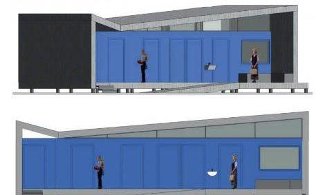 Planer: TIND arkitekter i Svolvær har skissert et servicebygg med blant annet toalett på Kalle. Nordland fylkeskommune støtter prosjektet med 675.000, fra før har Vågan kommune satt av penger i budsjettet. Bjørn Tore Nergård i Vågan Eiendom sier planen er å ha dette på plass inneværende år.Skisse: TIND