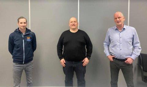 Morten Moe, daglig leder i TEFT Entreprenør, Eskil Nilssen, daglig i Entre Entreprenør, og Torbjørn Pedersen, daglig leder i TEFT Gruppen.