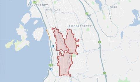STRØMBRUDD: Elvias strømbruddkart viser området som ble rammet av strømbrudd tirsdag.