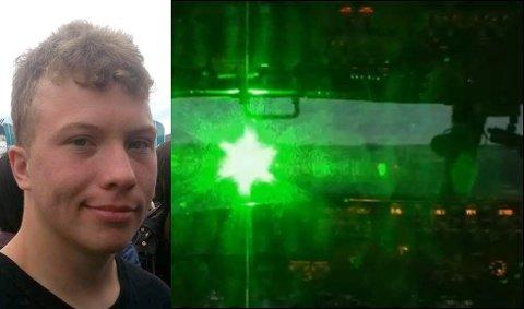 STERKT LYS: Marius Kristoffer Erlandsen Lilleby (19) ble blendet av en grønn laser på Reinøya fredag. Dette bildet er fra en video lagd av Federal Aviation Administration (tilsvarende Luftfartstilsynet) og FBI i USA og viser hvordan piloter i fly kan oppleve laserpenner rettet mot flyene.