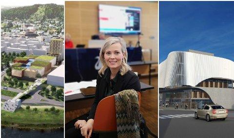 KULTURHUS: Kjersti Bjørnstad, her flankert av to av forslagene til nytt kulturhus, er utvalgsleder for Kultur, eiendom og teknisk i Gjøvik kommune.