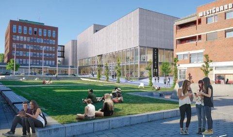 SENTRUMSNÆRT: Den nye videregående skolen i Ski blir liggende tett inntil rådhuset. Illustrasjon: LMR Arkitekter