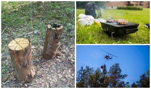 IKKE GREIT: Brannvesenet ble fredag varslet om et kubbebål i Hamar. Det er IKKE greit. Grilling i egen hage er ikke forbudt, men kullgrill anbefales ikke. Gassgrill kan gå til nød. Skogbrannfaren er enorm i Hedmark om dagen. Foto: Hedmarken brannvesen, NTB scanpix