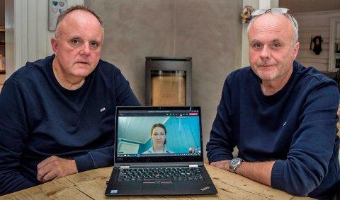 VIL HA KLARHET: - Vi ønsker å få fram den hele og fulle sannhet i denne saken, og at allmennheten skal få vite hva som har skjedd i helsetjenesten knyttet til vår mors død, sier brødrene Tor (t.v.) og Lasse Røberg. Mellom seg har de Marit Toverud, seniorrådgiver hos Pasient- og brukerombudet, via den digitale videomøteplattformen Teams.