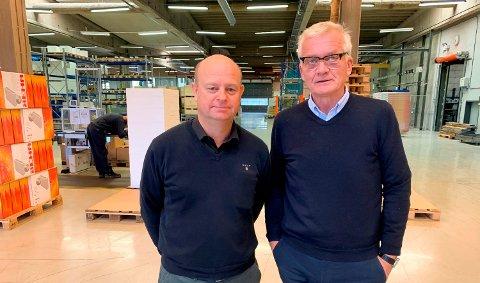TROR PÅ HUNDRE ÅR TIL: Fabrikksjef Brian Haave og administrerende direktør Robert Ringstad har klokkertro på nysatsingen ved Beha Fabrikker på Heistad. Fabrikken rundet 100 år i 2017, og nå tror de på nye 100 år i Lundedalen.