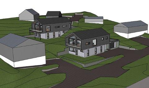 En av disse boligene er fjernet i ny søknad, det blir bare et hus på eiendommen i Brånanvegen.