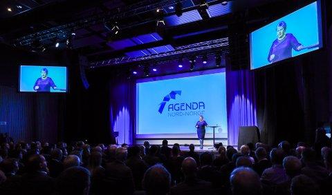 Agenda Nord-Norge 2017 åpnet i Mo i Rana november 2017. Statsminister Erna Solberg på scenen.
