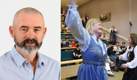 Bygdeforsker Bjørn Egil Flø har tro på at Nesna vil lykkes. Til høyre er ordfører Hanne Davidsen avbildet da flere hundre møtte opp til folkefest for reetablering for Høgskolen på Nesna.