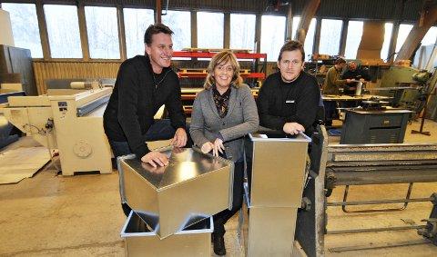 Nye eiere: Tre av de ansatte i Gunnar Jensen A/S har overtatt eierskapet. Frode Dybdal (t.v.), Heidi Ropphaugen og Kai Sigmund Kjeverud. 20. januar 2011