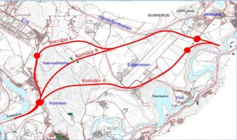 TRE ALTERNATIVER: Her er de tre alternativene for ny E16 Hensmoen/Nymoen-Eggemoen. Veivesenet anbefaler korridor C.