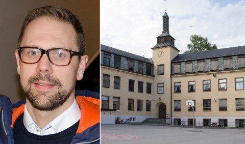 SMÅBARNSPAPPA: Simen Strøm jobber aktivt for å beholde Hønefoss skole. Han kan nå presentere en rapport som viser at skolen kan settes i stand for langt billigere enn det kommunens administrasjon har foreslått.