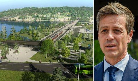 500 MILLIONER: Knut Arild Hareide og regjeringen har funnet 500 millioner kroner til Ringeriksbanen og E16 i forslaget til statsbudsjett.