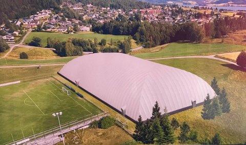 STORSTUE: Hvis alt går etter planen vil denne basishallen være på plass på jevnaker stadion i løpet av høsten 2022.