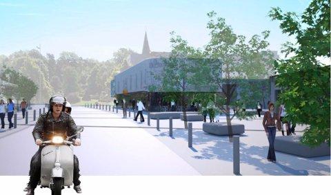 FRISTED FOR INNBYGGERNE: Sånn kan det komme til å se ut i sentrumsområdet i Stokke. (Illustrasjon: Rambøll)