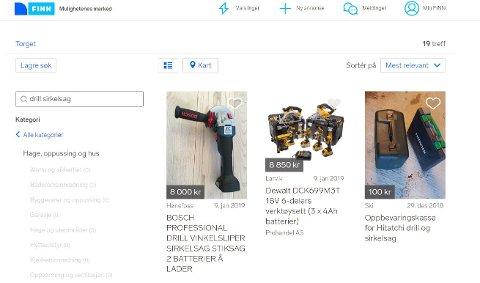 SVINDEL: Sandefjoringen (53) la ut verktøy på Finn.no uten planer om å sende produktene etter å ha fått betaling. Annonsene på bildet har ikke noe med saken å gjøre.