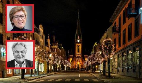 JULEHANDEL: Elisabeth Teien og Geir Ellefsen ønsker at alle skal få en trygg og smittefri julehandel.