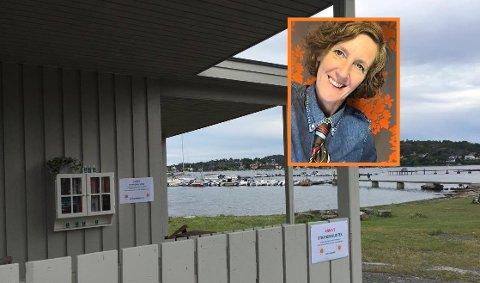 ANNAS STRANDBIBLIOTEK: Nede på Solløkkastranda ligger det nyåpnede mikrobiblioteket. – Ideen fikk jeg fra et liknende bibliotek på Veierland, sier Anna Furhoff Jensen, som i tillegg til å nå være mikrobibliotekar, er daglig leder og malermester i Malermestrene Jensen as. FOTO: Privat/Bjerkaas
