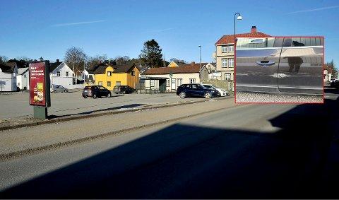 BULKIET: På parkeringsplassen ved Baker Jenseg i Kirkegata kjørte noen til den parkerte bilen til Terese Gresholdt denne uka.