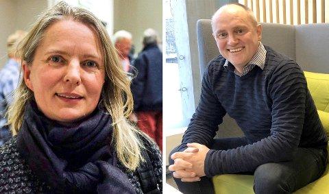 PRATAR SAMAN: Heidi-Kathrin Osland, leiar for Kaupanger damelag og Jan Rune Årøy, styreleiar i Sogndal Fotball snakkar no saman for å finna beste løysing for kvinnefotballen.