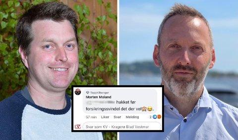 TAR SELVKRITIKK: Morten Moland (Sp) skrev denne kommentaren, men slettet den i ettertid. Han forstår at blant andre daglig leder Borgar Slørdal ved Kragerø fjordbåtselskap reagerer.
