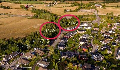 TILSALGS:Utviklingstomter i Solbakken Terrasse markert med rød ring.