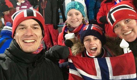 I OL: Familien Johansen/van der Hagen i Pyeongchang. F.v. Morten, Julie Justine, Lars August og Jeanette.