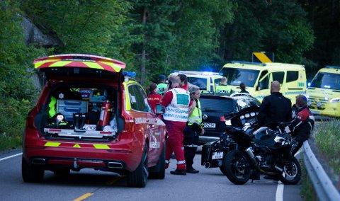 OMKOM: En motorsyklist omkom etter en ulykke på Gamle Mossevei 8. juli 2020.