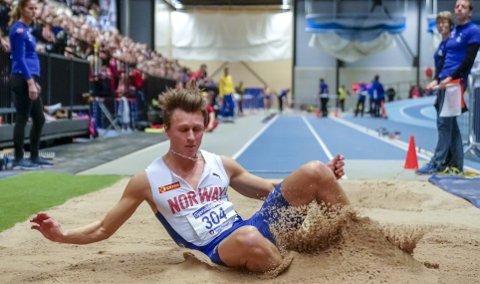 I EM skal Amund Høie Sjursen garantert løpe 60 meter. Men det er i lengdegropen han mener han kan nå lengst i årene fremover, og det kan også hende han får delta i lengde i Glasgow. Foto: NTB Scanpix