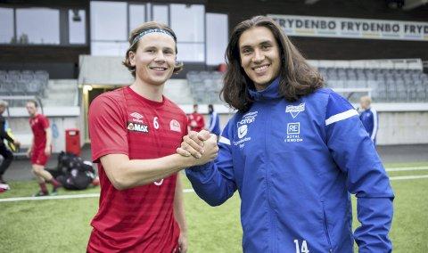 Både Ivar Svendal Aase (t.v.) og Bo-Tallak Slengesol Balgobin har spilt det meste av sine fotballkarrierer for henholdsvis Sandviken og Varegg uten å spille mot hverandre på A-lagsnivå. Nå skjer det, og det blir hett!  FOTO: Bernt-Erik Haaland