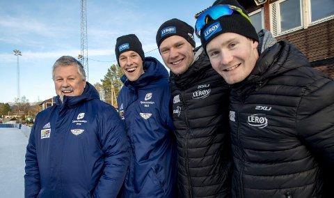 Hans Dankertsen (til venstre) har vært en helt sentral figur bak skøytesuksessen til Fana IL, med trioen Sindre Henriksen, Håvard Lorentzen og Sverre Lunde Pedersen i spissen. Men han ergrer seg over at de har ikke rekordene på egen is!