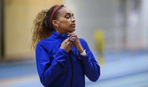Alt tyder på at Naomi Van den Broeck (25) får plass på det belgiske stafettlaget på 4x400 meter i Tokyo-OL. Van den Broeck kom til Bergen som 14-åring, og løper for TIF Viking. Her er hun i Leikvanghallen i mars.
