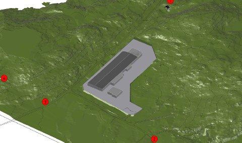 Anlegget er tenkt plassert langs Fylkesveg 616, ved krysset der vegen går ned til Clupea/Smørhamn.