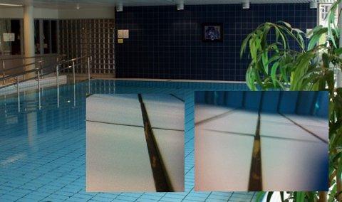 MONTASJE: Terapibassenget med innfelte bilde, som syner skadeomfanget.