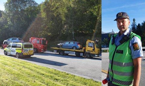 KOLLISJON: To bilar frontkolliderte onsdag ettermiddag ved Grov-krysset på rv. 5 mellom Eikefjord og Florø. Innsatsleiar Joachim Malterud er glad for at det heile gjekk så bra som det gjorde, sidan det er 80-sone på staden.