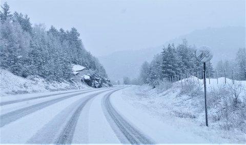 I DAG: Laurdag morgon hadde snøen lagt seg på E39 mellom Sande og Førde.