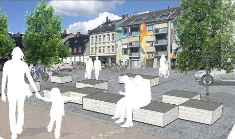 Omstridt: De rødgrønne flertallspartiene i  bystyret godkjente planene for opprusting av Damskipsbrygga, men Høyre, Frp og sentrumspartiene stemte imot. (Skisse: Fredrikstad kommune)