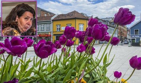 Marianne Kristiansen (Pp) ville flytte en del av blomsterprakten i sentrum ut til distriktets sykehjem. Det fikk hun ikke flertall for. Isteden vedtok bystyret at blomster skal vurderes ved neste års budsjett.