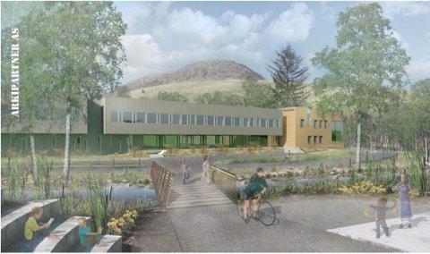 Slik ser Arkipartner AS for seg at skolen kan se ut om en kommer gående over gangbruene fra Figgjohallen.