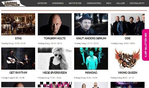 Slik markedsføres Gausdalsfestivalen på selskapets egen nettside.