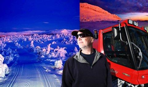 """UTE MED PREPARERINGSMASKINEN: Siden 19956 har Knut Erik """"Balle"""" Hagen kjørt opp skiløyper på Skeikampen. Nå deler han blinkskuddene med en stor følgerskare på Instagram."""