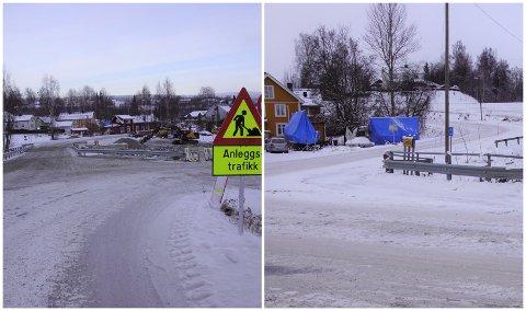 FLOMSIKRING: Under arbeidet med flomsikringen har brua ved Spar vært nede. Nå er den på plass. Om få dager blir brua i Storlinna stengt.