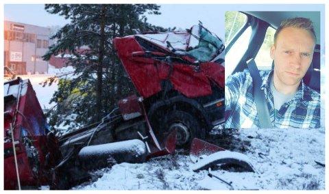 TIL UNNSETNING: Arne Myhrengen (27) fra Bjoneroa forteller at han hjalp den skadde mannen ut av førerhytta. En gasslekkasje ga ekstra utfordringer etter trafikkulykken. Den ene gasstanken sees i bildet ved framhjulet.