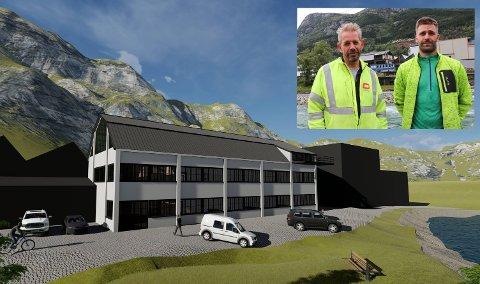 Leif Einar Lothe og Martin Heggøy håpar folk vil ta kontakt dersom dei er interesserte i å bruke bygget, til dømes til kontor.