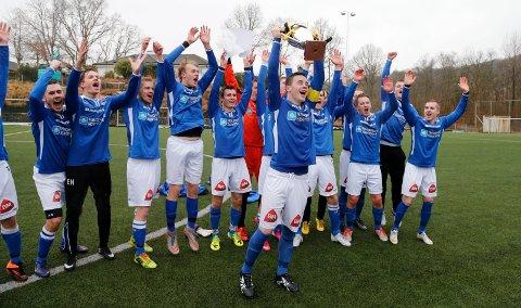 VANT I 2016: Haugar, med kaptein Vetle Broen i front, vant vintercupen i 2016. Med fraværet til de fleste 4. divisjonsklubbene, blir Haugar en av favorittene også i år.