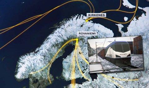 KNUTEPUNKT: Med de nye, arktiske sjørutene ser utbyggerne for seg Kirkenes som et knutepunkt i nord. Finske myndigheter har et sterkt ønske om å bygge jernbane til Rovaniemi, slik at gruver og annen industri i området kan sende varene opp til havna i Kirkenes. Men en havn i nord kan også bli ankomststed for varer fra Asia.