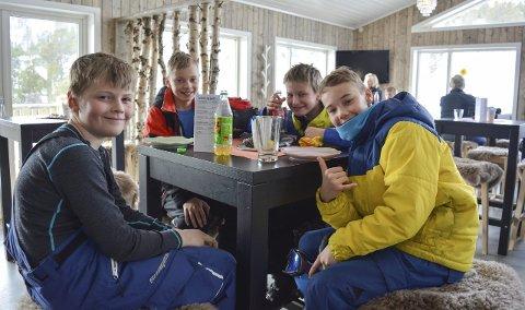 IVRIGE BRUKERE AV BAKKEN: Steinar Moe (11), Thomas Roxrud (11), Konrad Klevstad Jakobsen (11) og Lars Roxrud (13) er ofte i bakken, og de lager selv hopp for å få noen ekstra utfordringer når de skal teste nye triks.Begge Foto: Erlen Hykkerud