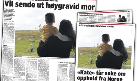 Gladnyhet: I tillegg til at hun venter på at barn nummer to skal komme, har «Kate» og familien fått en gladnyhet. Hun får bli i Norge.