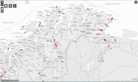 KART: Skjermdump fra kartet som Nasjonal sikkerhetsmyndighet har offentliggjort.